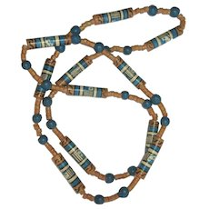 Vintage Bead Necklace, South American Painted Wood