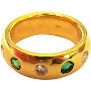 Emerald, Diamond Ring, 18K Gold Band, Art Deco, GIA