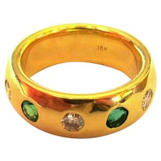Emerald, Diamond Ring, 18K Gold Band, Art Deco, GIA