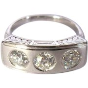 Platinum Diamond Ring, Antique Edwardian, GIA, 1.3 Cts