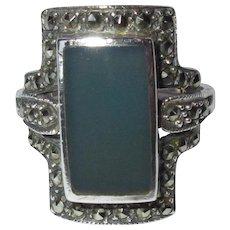 Deco Sterling Ring, Art Glass & Marcasite, Vintage 20's
