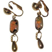 Art Glass Earrings, Faux Fire Opal / Agate Stones, Vintage Clips