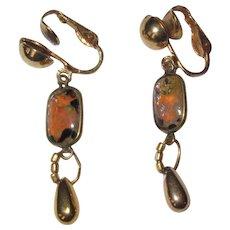 Art Glass Earrings, Faux Fire Opal / Agate Stones, Vintage Clips
