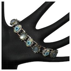 Vintage Bracelet, 50's Floral, Faux Moonstone