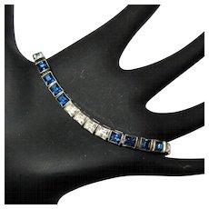 Sterling Crystal Bracelet, Dorsons Art Deco Link, Vintage Tennis