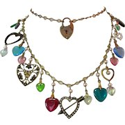 Vintage Heart Charms Necklace, Glass Works Studio, Valentine