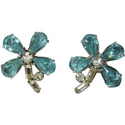 Rhinestone Flower Earrings, Vintage 50's Daisies