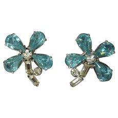 Rhinestone Flower Earrings, Vintage 50's Daisies