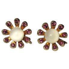 Coro Rhinestone Earrings, Daisies & Art Glass, Vintage 40's