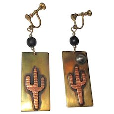 Cactus Earrings, Vintage Hand Made, Drops, Mixed Metals.