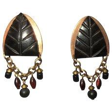 MB SF Earrings, Vintage Copper, Onyx & Beads