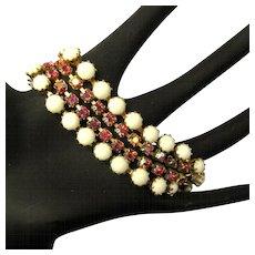 Rhinestone Bracelet, Vintage 50's, 4 Strand, Pink AB