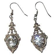 Vintage Rhinestone Earrings, Filigree Drops, Rhinestone Button