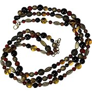 Vintage Bead Necklace, 3 Strands, Earth Tones, Glass & Metal