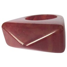 Vintage Bakelite Ring, Geometric, Dark Red