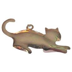 Sterling Silver Cat Pendant, Large Charm, Retro Vintage Necklace