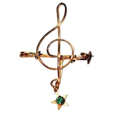 Treble Clef Pin, Gold Filled Wire, 50's Vintage