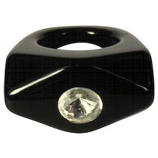 Vintage Lucite Rhinestone Ring, Black 70's