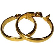 Vintage Hoop Earrings, Gold Toned Clips