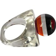 Lucite Rainbow Ring, Vintage 60's Clear, Ball Top