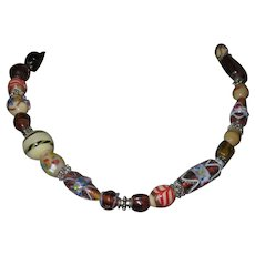 Venetian Glass Bead Necklace and Bracelet, Vintage 80's