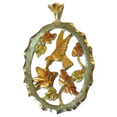 Sterling Pendant, Art Nouveau Revival, Rose Gold & Green Gold, Hummingbird