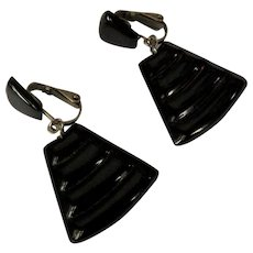 Egyptian Revival Earrings, Vintage 80's Black Clips
