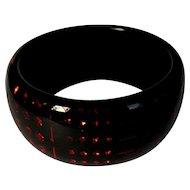 Vintage Sobral Bangle Bracelet, Black, Red Rhinestones, 90's