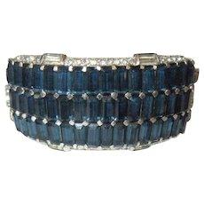 KTF Bracelet, Alfred Philippe, 1930's Rhinestone Hinged Cuff Trifari