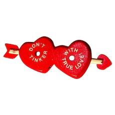 Vintage Valentine Pin, Tinker Toy Design