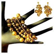 Vintage Bead Bracelet & Earrings, Handmade, 5 Strand