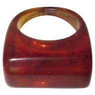 Vintage Lucite Ring, Marbled Tortoise, 1960's