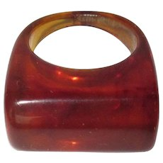 Vintage Lucite Ring, Marbled Tortoise, 1960's