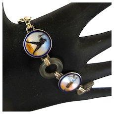 Vintage Baseball & Gold Bracelet, Rock Crystal & Guilloche Enamel Links