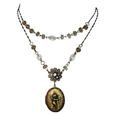 Vintage Locket Necklace, Crystals , Rhinestones, Filigree & Cupid