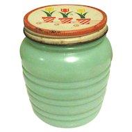 Jadeite Fire King Glass Grease Jar, Tulip Lid