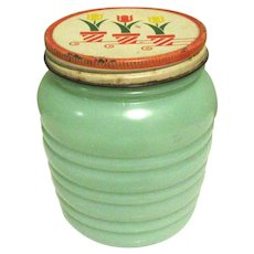 Jadeite Fire King Glass Grease Jar, Tulip Lid