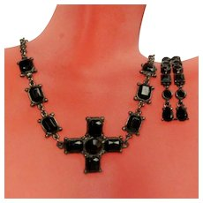 Vintage Goth Necklace & Earring Set, Black Rhinestone Cross