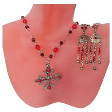 Gothic Necklace & Earrings Vintage Set, Crystals & Cross