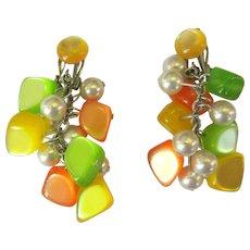 Moonglow Earrings, Dangling Beads, 50's Mod Neon