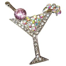 Rhinestone Cocktail Pin, Vintage Martini Brooch