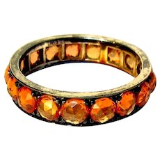 18K Orange Sapphire Ring, Rose Cuts. Eternity Band, Black Rodium