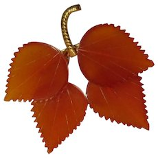Vintage Leaf Pin, Carved Translucent Lucite, Mid Century