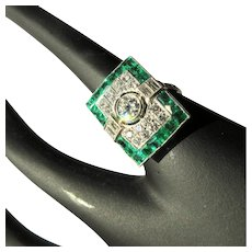 Art Deco Diamond, Emerald, Platinum Ring, 1940's GIA