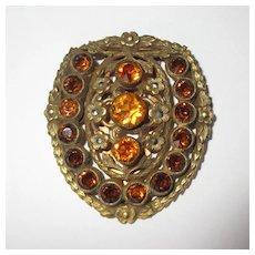 Czech Glass Clip, Vintage Art Deco, Filigree & Marcasite