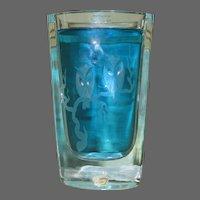 Strombergshyttan Glass / Crystal Vase, Circa 1950s, Etched Owls, Moon