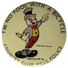 Jiminy Cricket Pinback / Button, Bicycle Safety, 1955 Disney