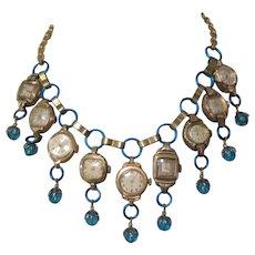 Watch Fringed Necklace, Vintage Artist Made