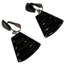 Egyptian Revival Earrings, Vintage 60's Black Clips