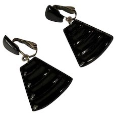 Egyptian Revival Earrings, Vintage 60's Black Clips